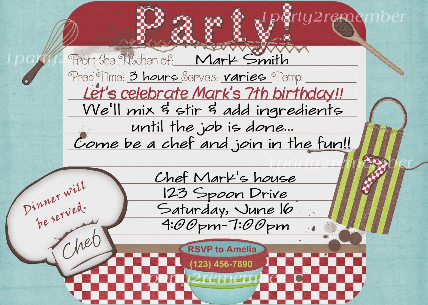 ChefCooking Party Digital Party Invitation for girl or boy – Digital Party Invitations