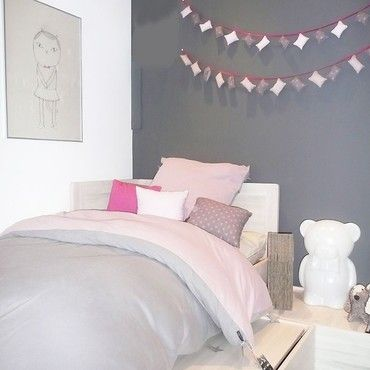 un chambre rose et gris rose gris chambre ado et ado. Black Bedroom Furniture Sets. Home Design Ideas