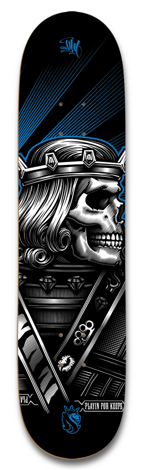 Fierce Jack design that utilizes the lack of color in most of the design. the subtle blue in the background makes the skull stand out.