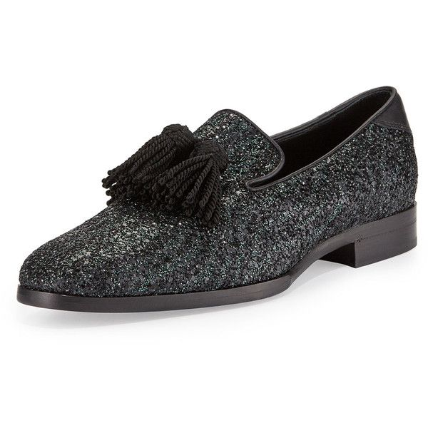 8f1f419283a Jimmy Choo Foxley Coarse Glitter Leather Tassel Loafer ( 795) ❤ liked on  Polyvore featuring mens