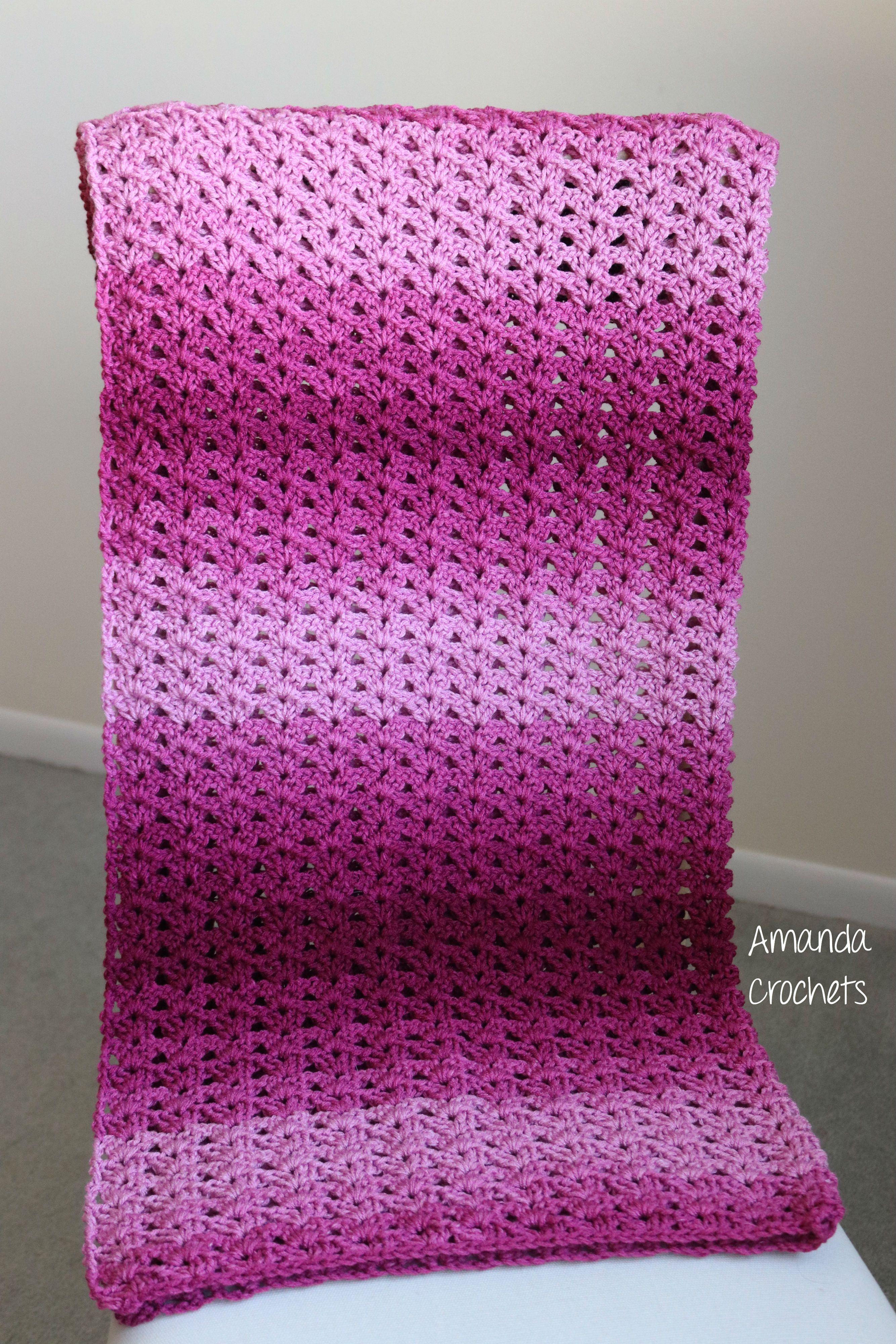 0467d0a14b Crochet Baby Blanket-Baby Blanket-Pink Baby Blanket-Red Heart Ombre-Baby  Shower Gift-Etsy Shop-Crochet Pattern