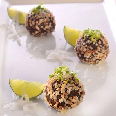 Dark Chocolate Coconut Lime Truffles (Easy; 36 truffles) #truffles #darkchocolate #coconut #lime #dessert