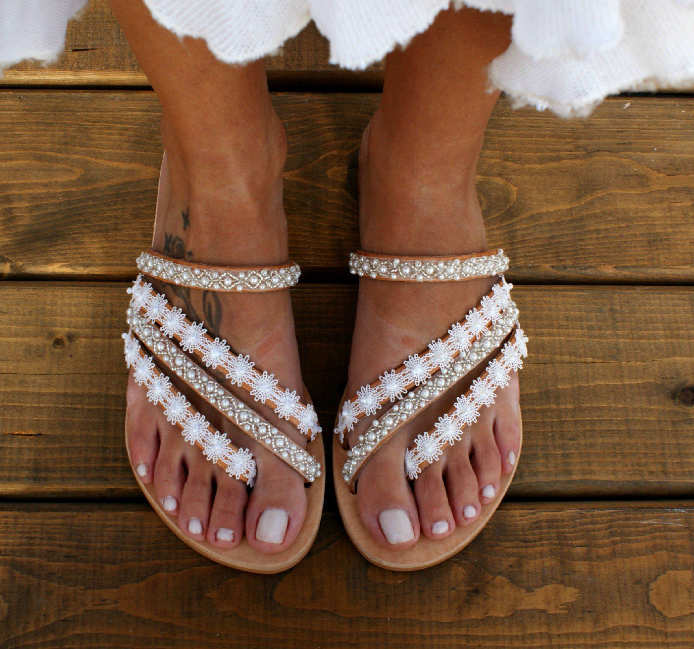 Wedding sandals/ bridal sandals/ leather sandals/ handmade sandals/ pearl sandals/ beach wedding sandals/ white wedding shoes/
