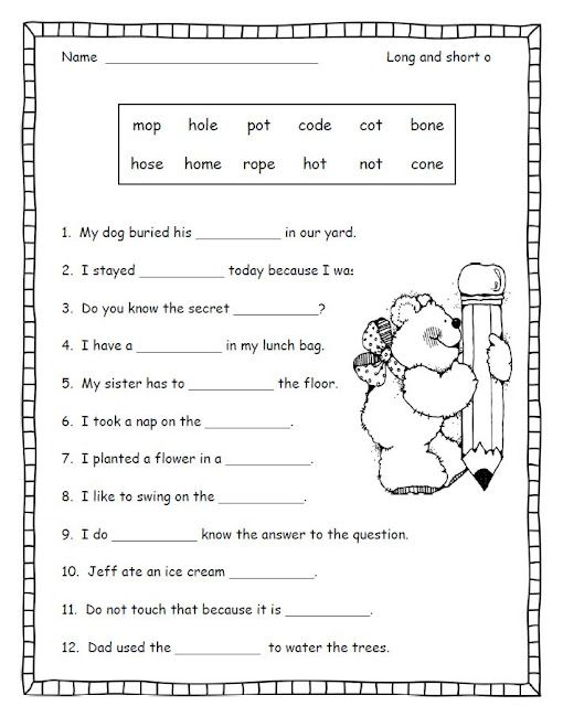 Long And Short O Good Activity For When The Students Have Extra