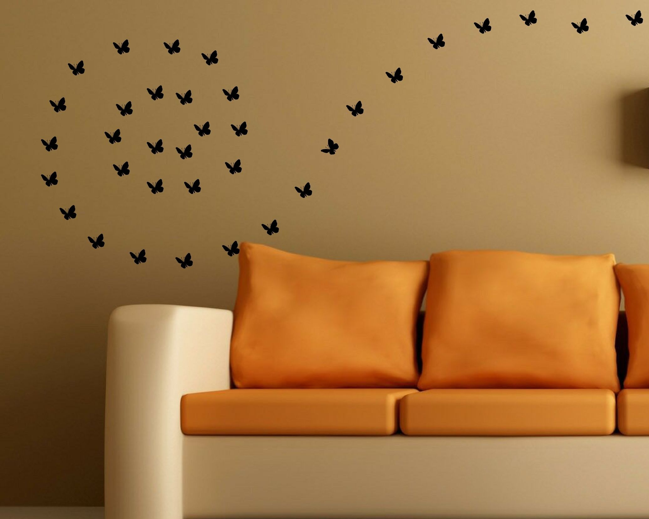 Black butterfly wall decal on a sand color brown wall wall decal black butterfly wall decal on a sand color brown wall amipublicfo Image collections