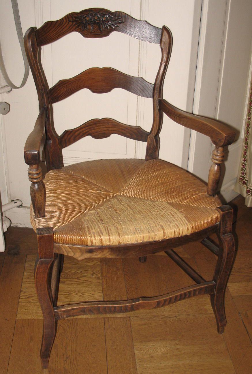 Fauteuil Rustique Paille Chene Epoque Eme Siecle Style Louis XV - Fauteuil rustique
