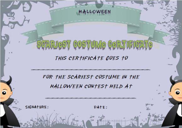 Scariest Halloween Costume Certificate Template | Halloween Costume ...