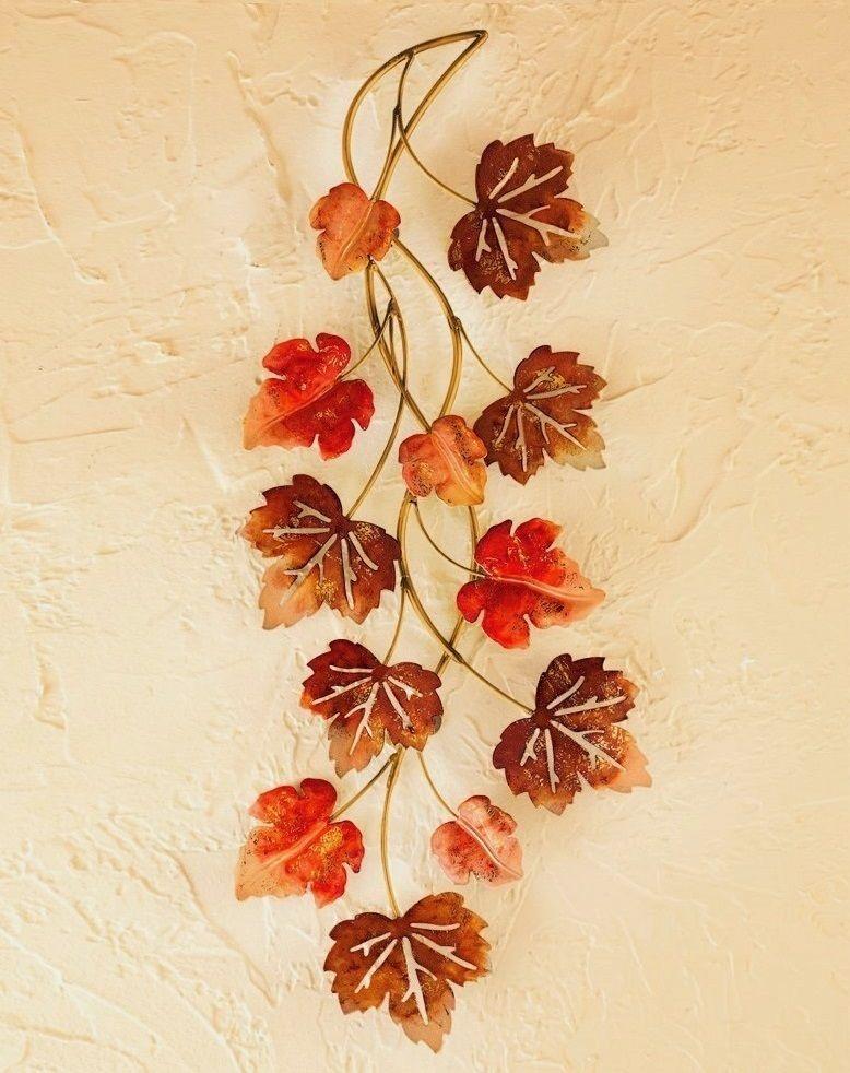 Autumn Leaves Metal Wall Art Falling Leaf Door Swag Rustic Harvest