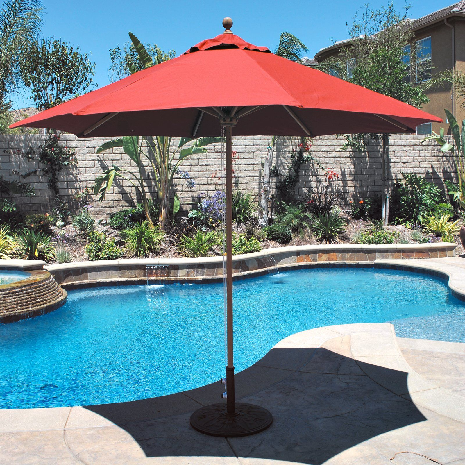 Galtech 9 ft Designer Teak Patio Umbrella