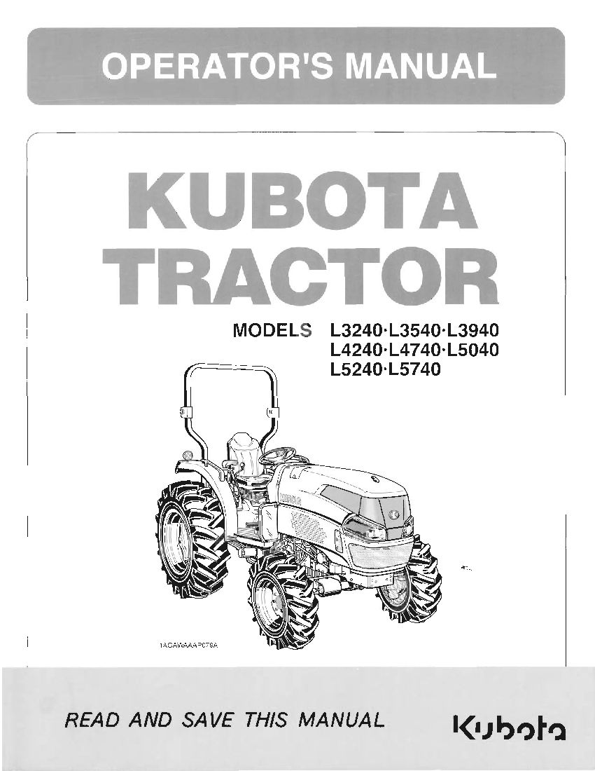 Kubota L4240 Pdf Service Manual Download Manual Guide