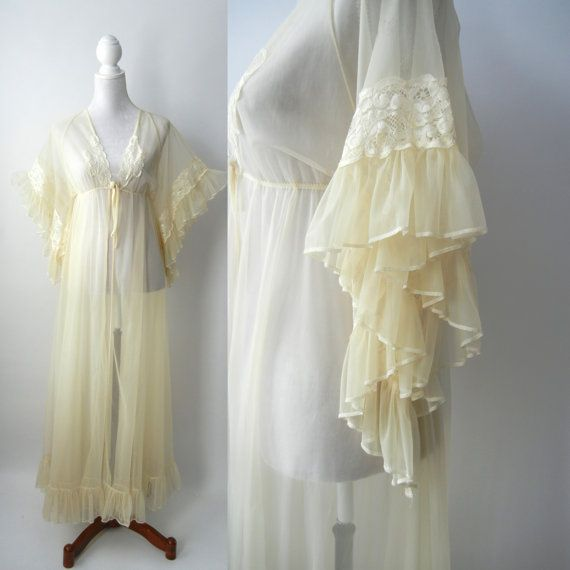 1950s Vintage Yellow Negligé, 50s Vintage Yellow Robe, Sheer Vintage ...