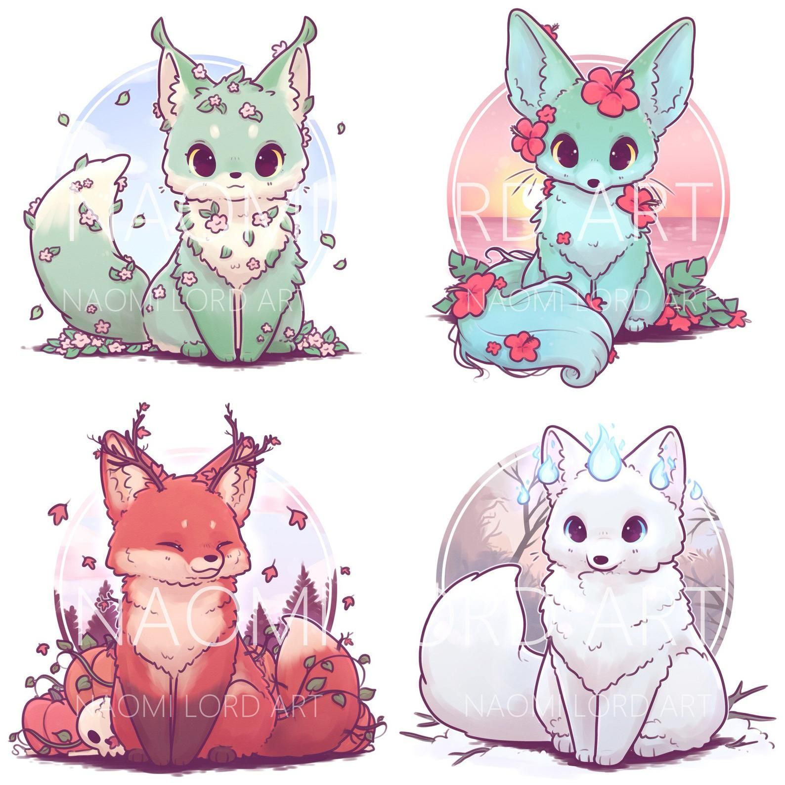 Seasonal Foxes Stickers And Or Prints 6x6 Or 8x8 Etsy In 2020 Cute Animal Drawings Kawaii Cute Fox Drawing Cute Animal Drawings