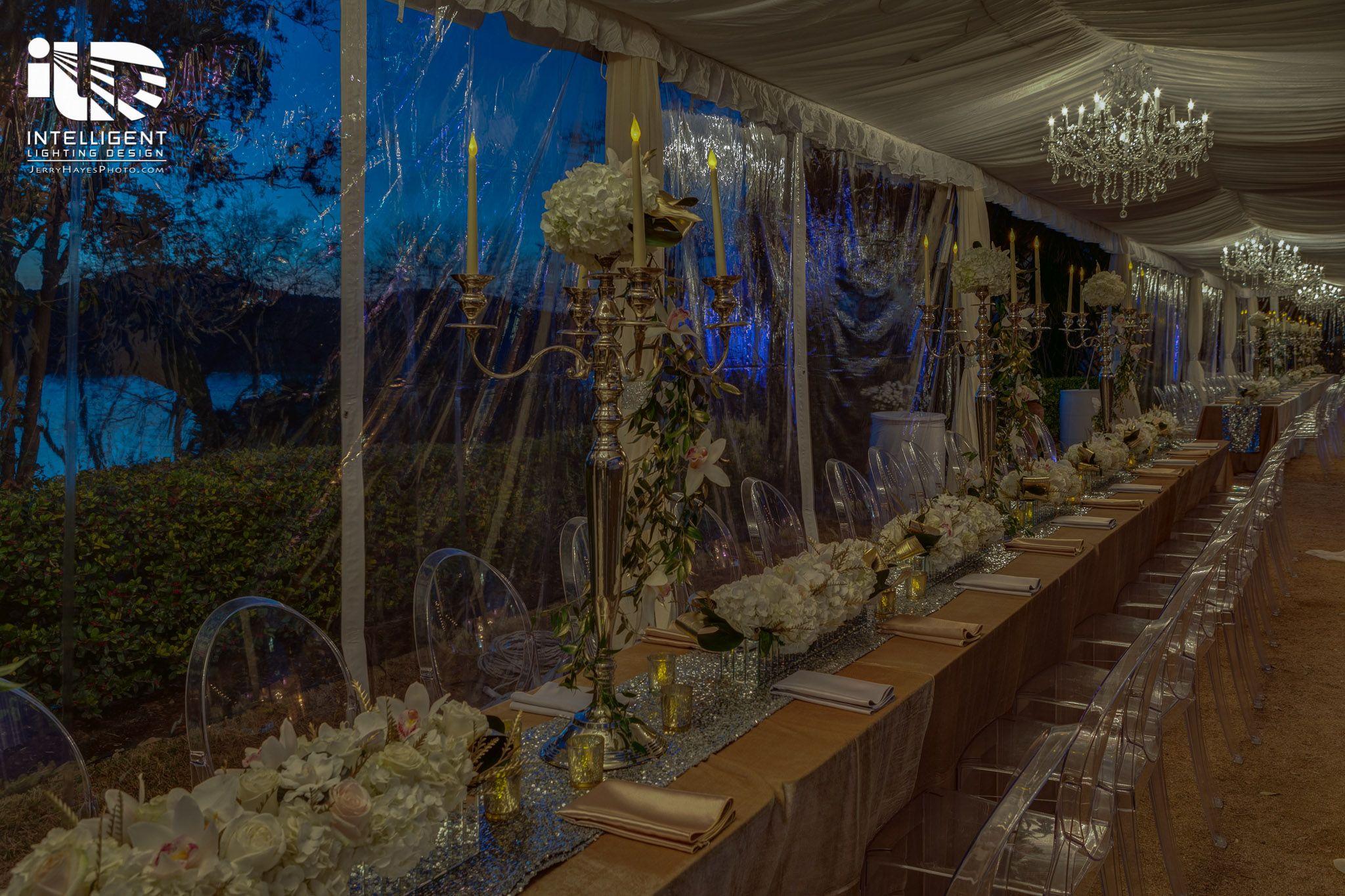 Laguna Gloria Corporate Event. Tent lighting. Chandeliers