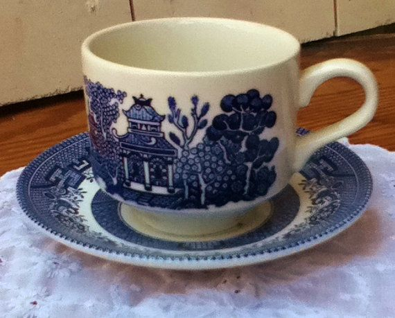 Churchill Cup and Saucer / Blue White / Coffee Tea by theStylepyle, $9.00