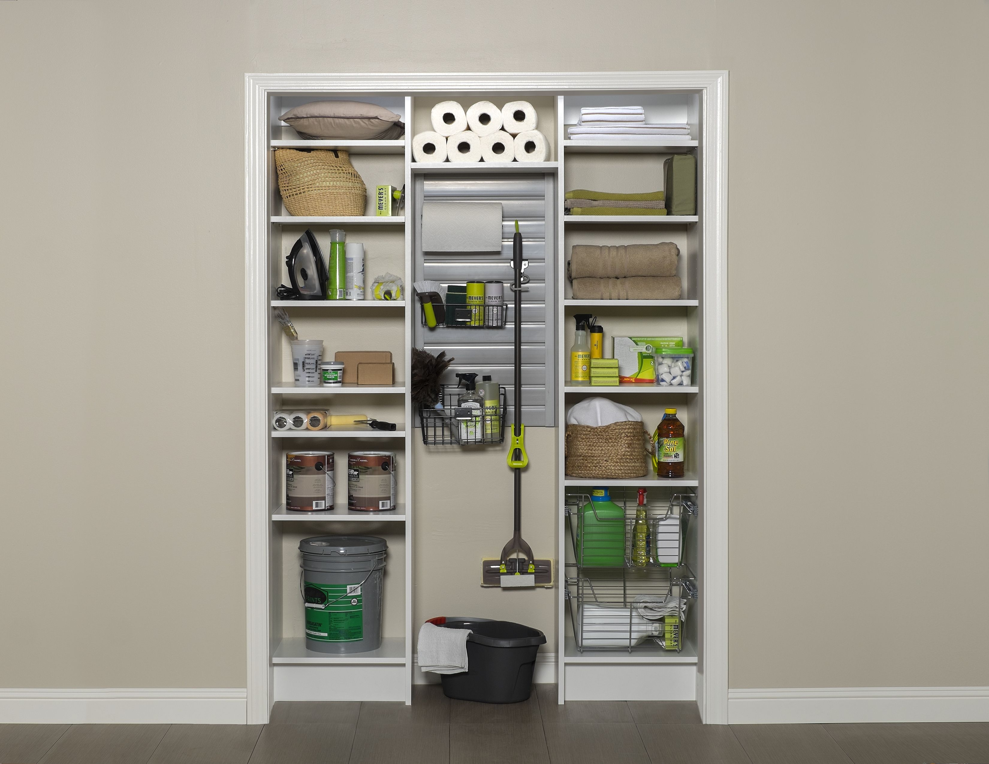 Nice Utility Closet With Adjustable Shelves And Slatwall