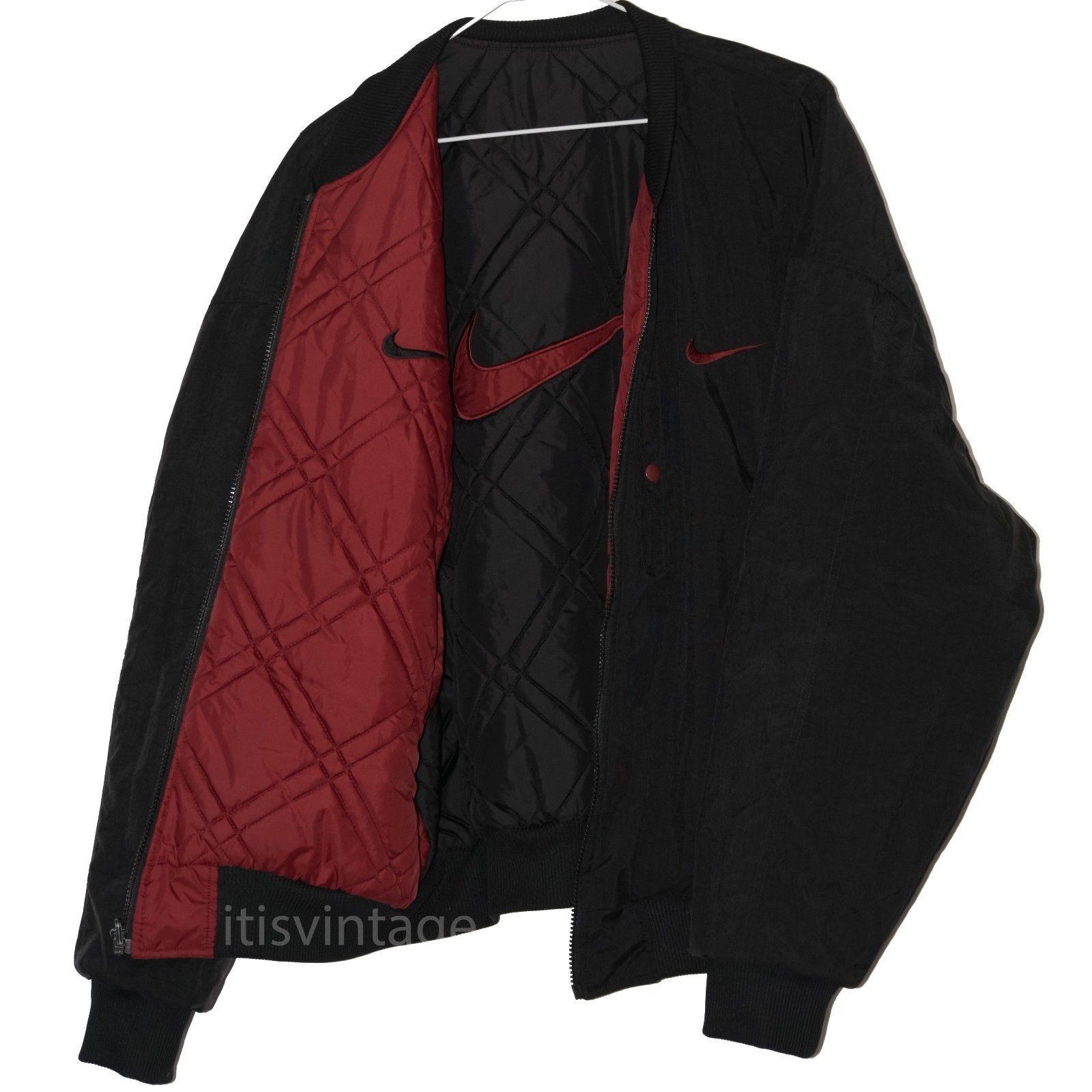 adc1cbe1bdd8 Reversible Vintage Nike Full Zip Large Swoosh Insulated Nylon Bomber Jacket  Coat