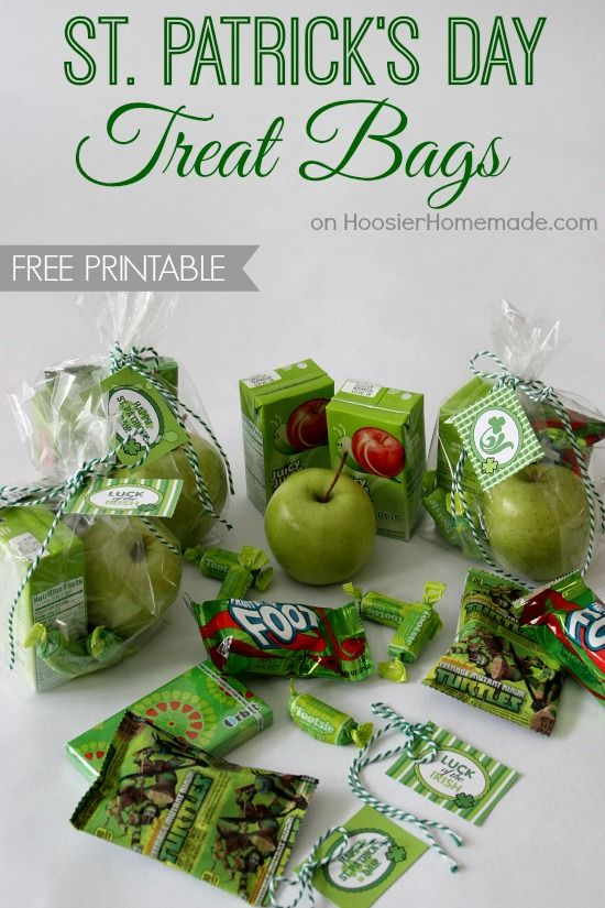 st  patrick u0026 39 s day treat bags with free printable tags from