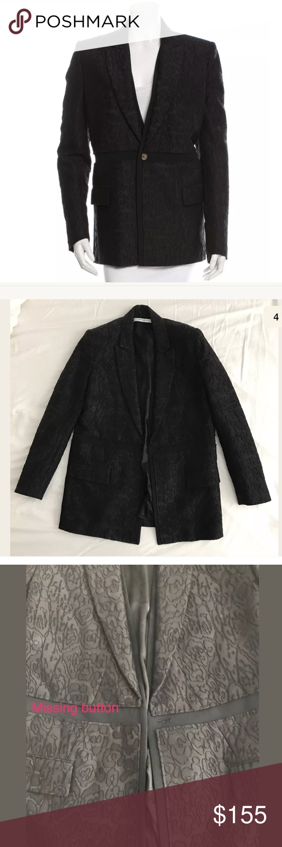 """$2K Givenchy Black Leopard Blazer Jacket 38 This blazer is missing the front closure button and sleeve buttons show signs of wear.  (easy fix to get a button at the fabric store for a couple bucks) Some very slight fading on shoulders  Jacket retails for over $2,000 - get it here for an awesome price!!  Approximate measurements lying flat:  Shoulder to Shoulder: 15"""" Armpit to Armpit: 18"""" Sleeve Length (top shoulder to wrist hem): 23"""" Length (top shoulder to bottom hem): 27.5""""  I wear a US…"""