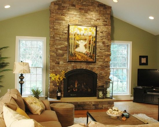 Living rooms with vaulted ceilings images traditional - Living room with fireplace images ...