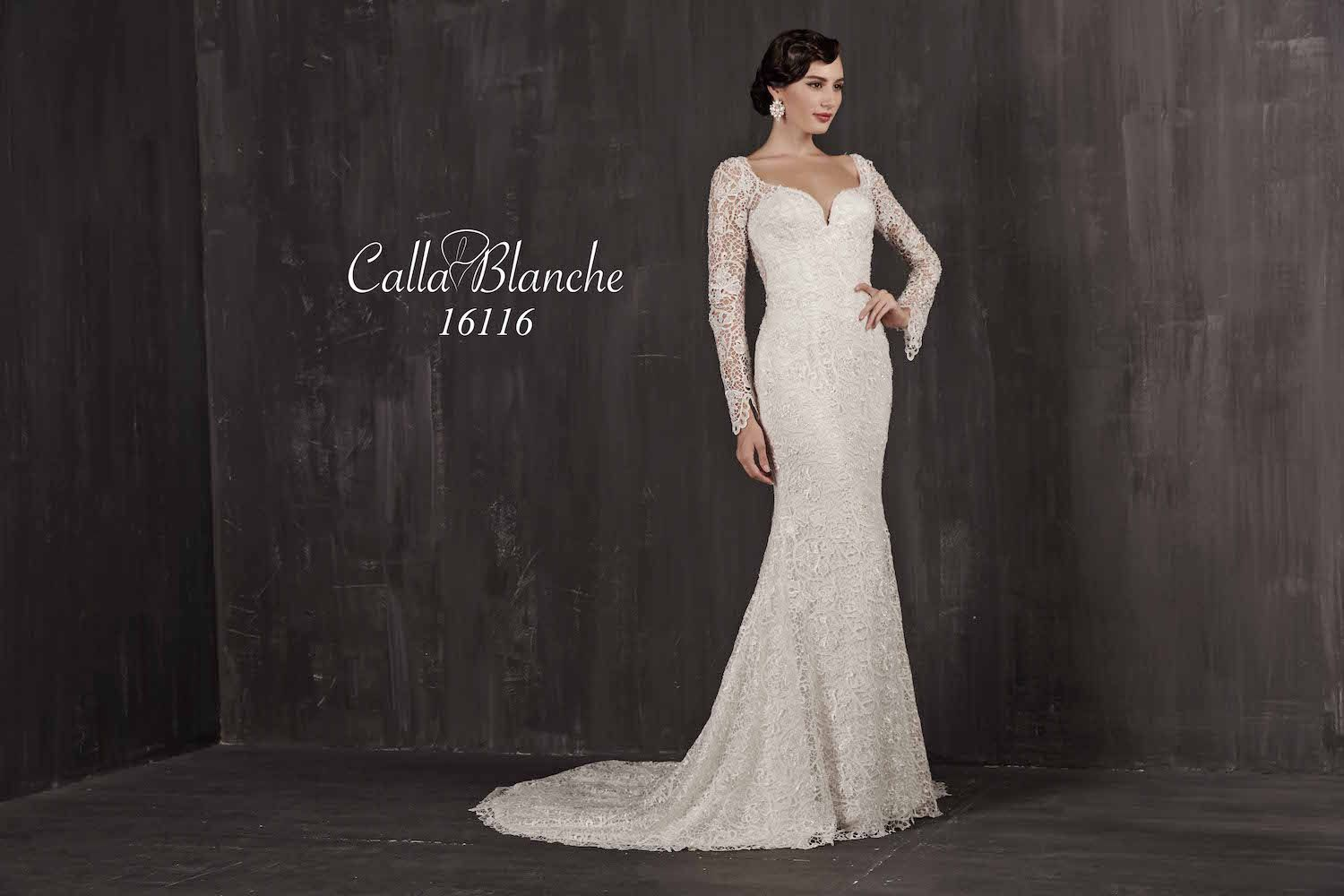 Calla blanche wedding dressgown ivory lace long sleeve
