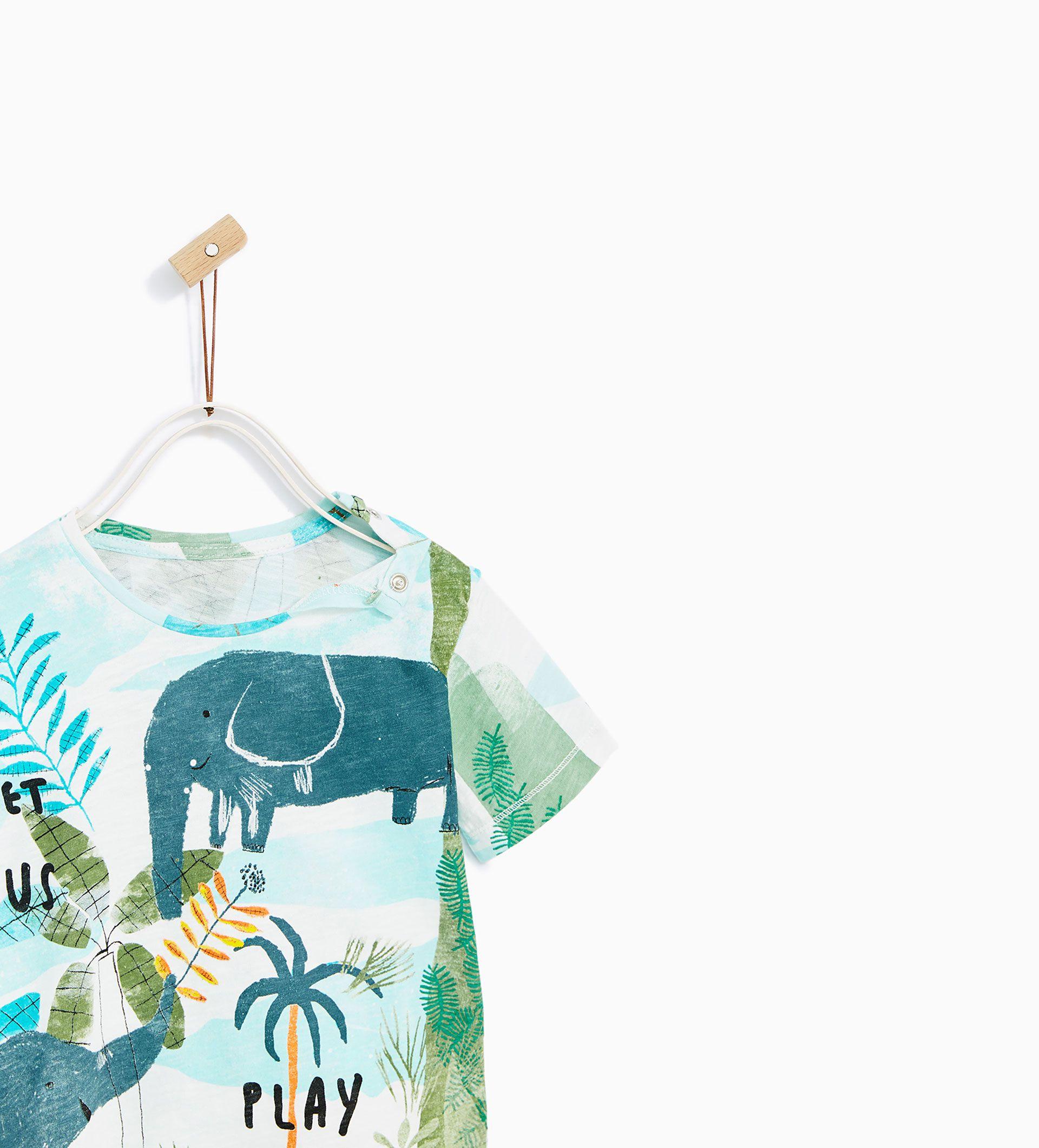 Image 3 Of Watercolor Jungle Print T Shirt From Zara T Shirt Jungle