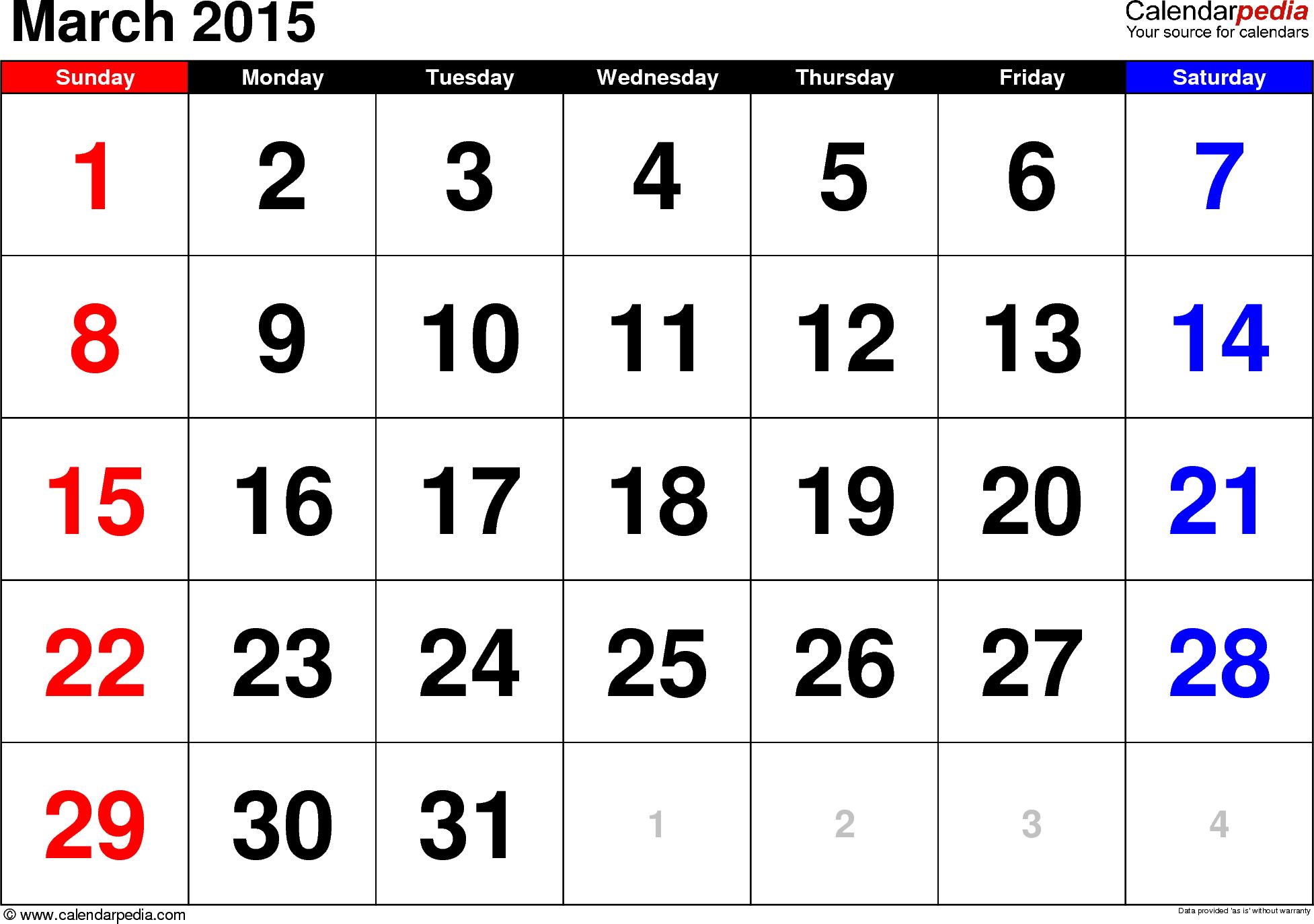 Download March Calendar Printable Cute March