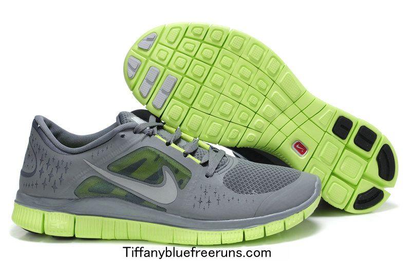Mens Nike Free Runs 3 Cool Grey/Reflect Silver/Volt $50