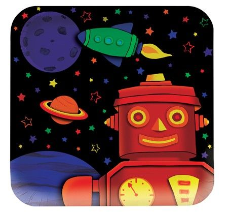 Robots Party Bots Dinner Plates (square 8)  This set of large sized square  sc 1 st  Pinterest & Robots Party Bots Dinner Plates (square 8) : This set of large sized ...