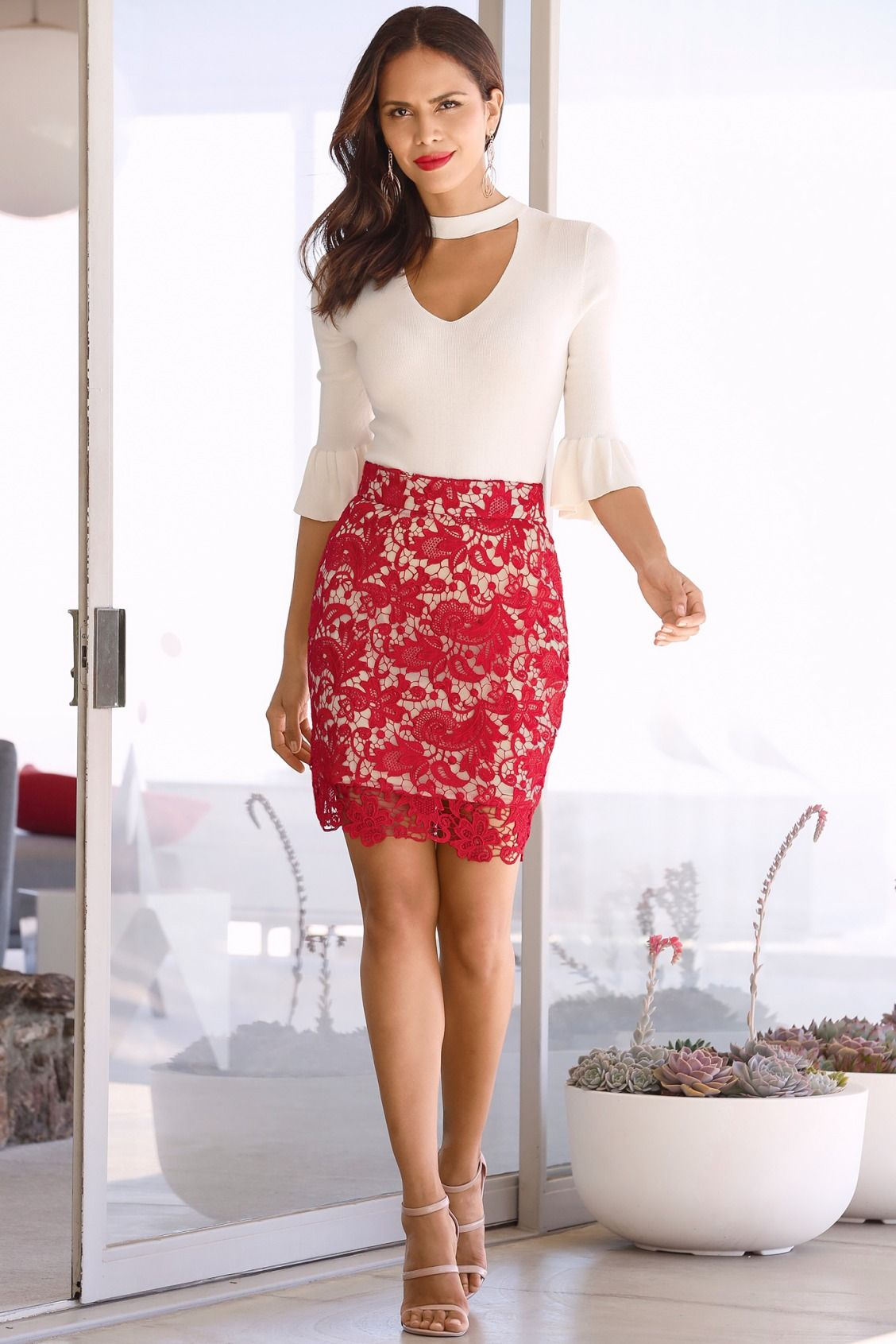 3592ea1de468 Valentine's Day Date Night | Women's Sexy Red Lace Pencil Skirt.