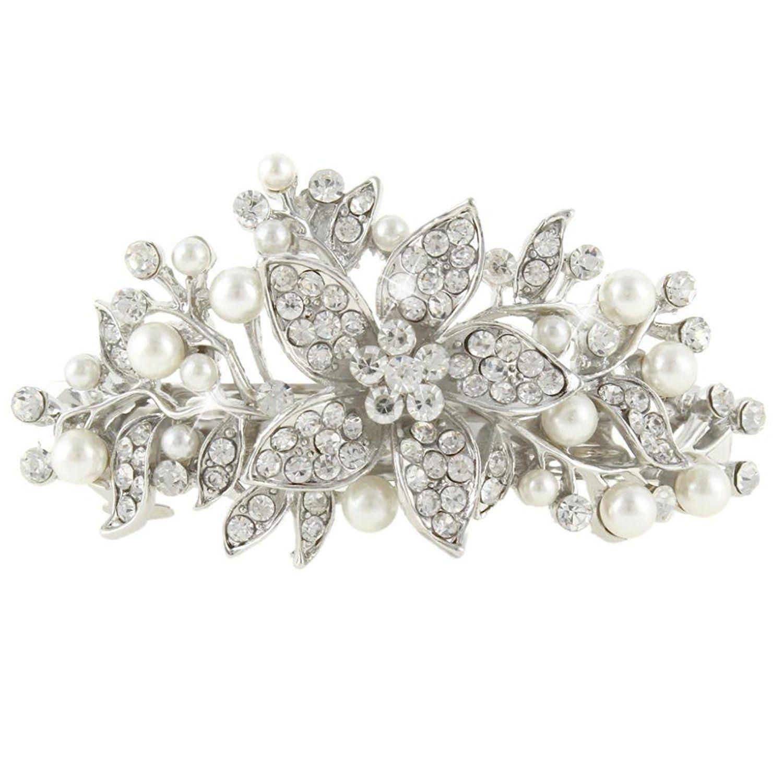 EVER FAITH Austrian Crystal Bridal Hibiscus Cream Simulated Pearl Hair Clip Barrette Silver-Tone yCdFeKozFM