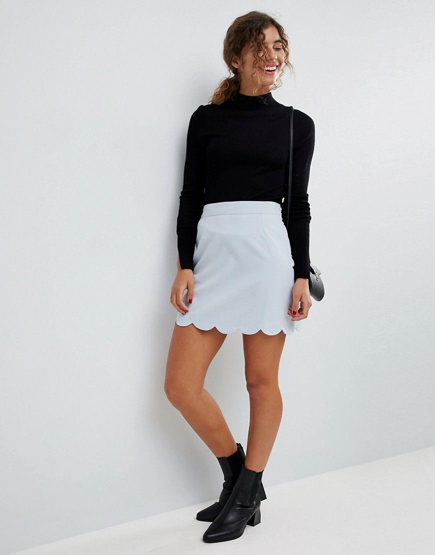 fa773f4ee8 ASOS Tailored A-Line Mini Skirt with Scallop Hem - Gray   Products ...