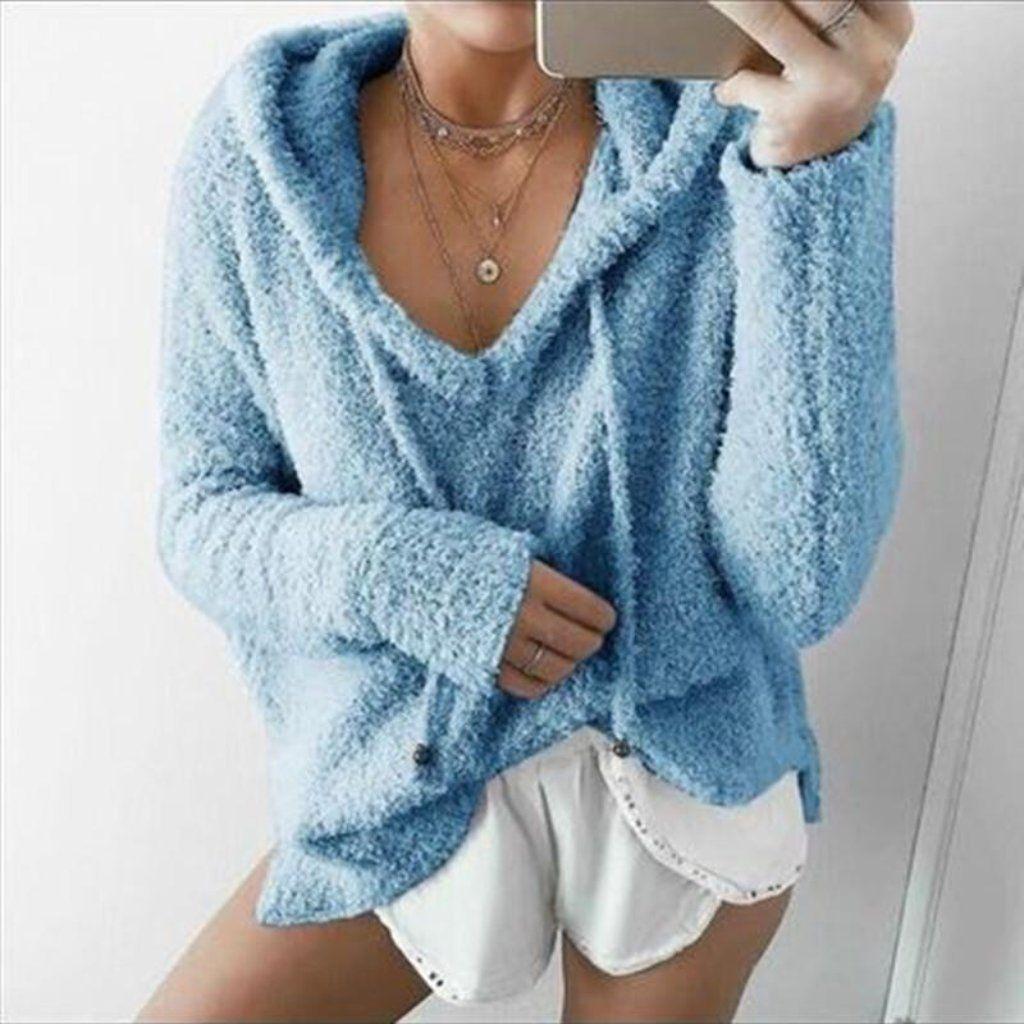 Lady Warm Long Sleeve Fluffy Sweater Jumper Pullover Casual Thremal Sweatshirt