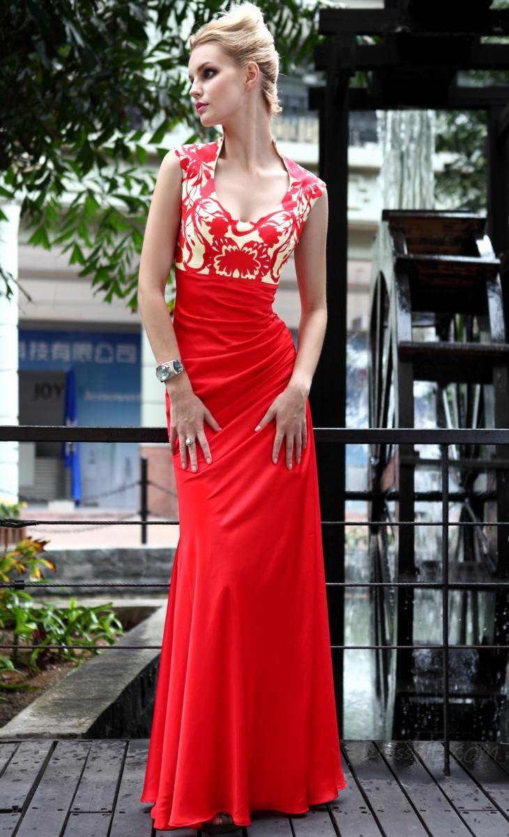 Dresswe.com SUPPLIES Pretty A-Line High Neckline Pattern Ankle-Length Evening/Homecoming Dress Evening Dresses 2014