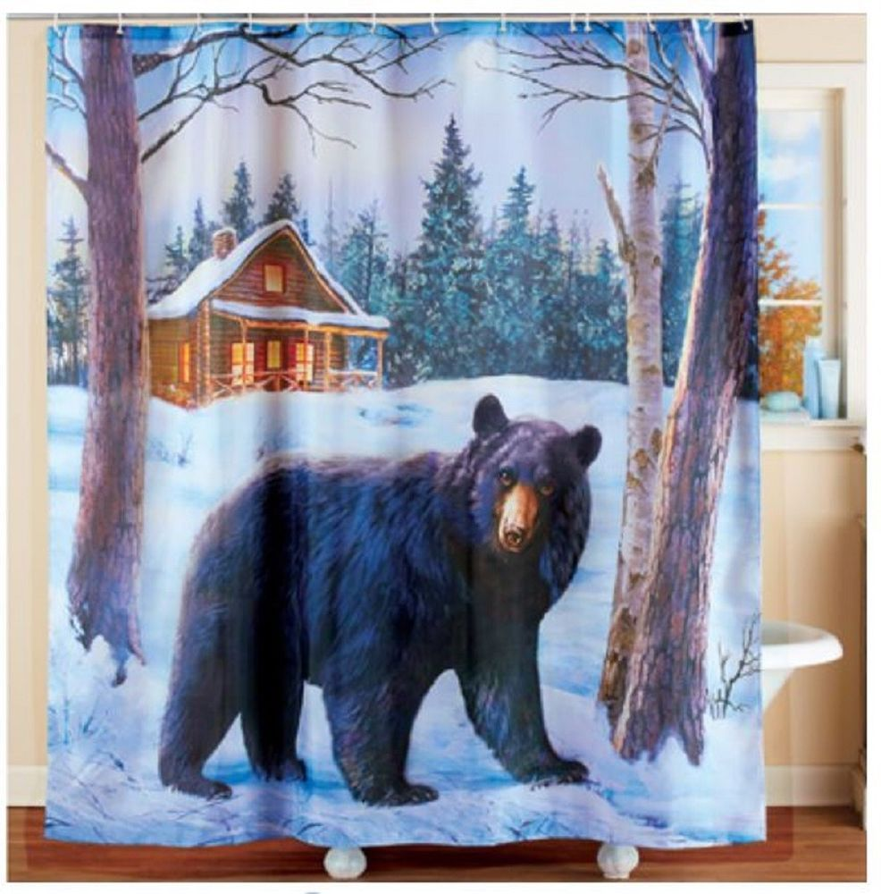 Northwoods Black Bear Shower Curtain Bath Mat Hooks Rustic Wildlife Decor Unbranded Country