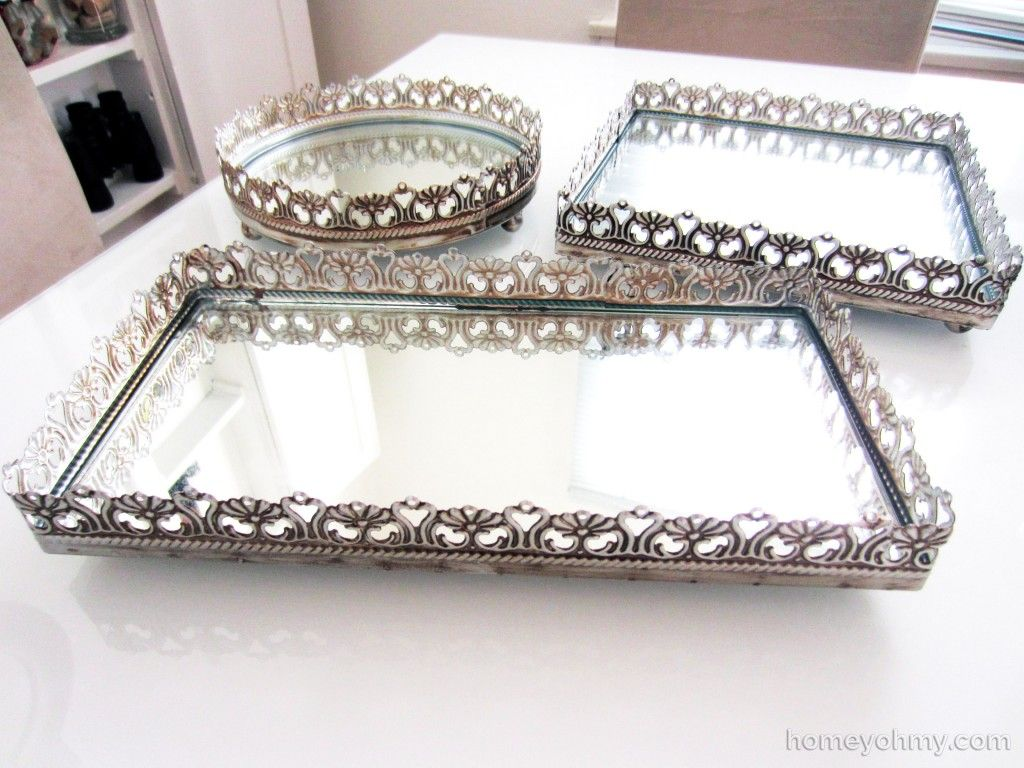 "Bathroom Vanity Tray decorating with mirrored vanity trays | homey oh my! | ""diy"