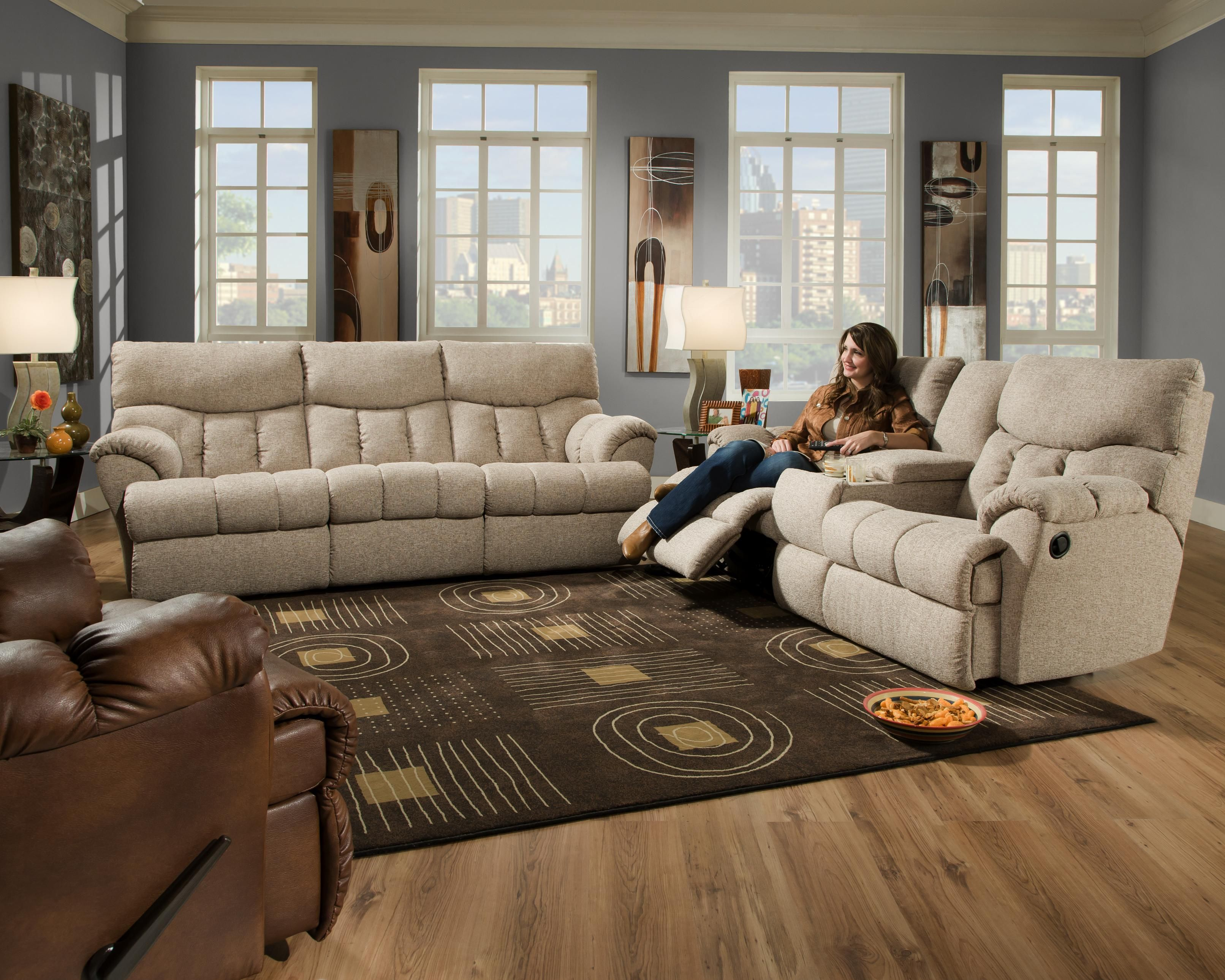 Southern Motion Re Fueler Reclining Sofa Console Loveseat Wall Hugger Recliner
