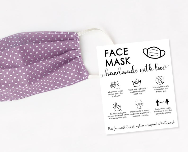 Printable Face Mask Care Card Handmade Face Mask Tag Cloth Face Mask Tips Cloth Face Covering Instructions Thank You For Shopping Small In 2021 Diy Face Mask Easy Face Masks Mask