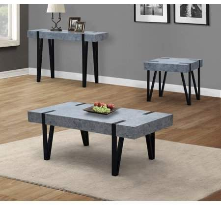 Home 3 Piece Coffee Table Set Concrete Coffee Table