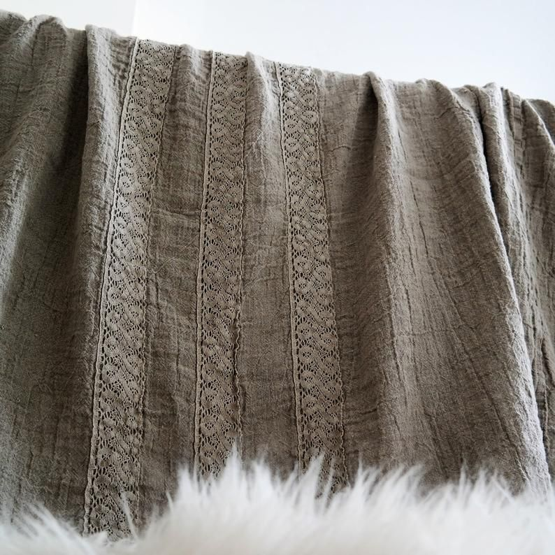 Linen Bedspread Linen Bedspread With Three French Lace Etsy In 2020 Linen Bedspread Lace Bedspread Linen Bed Cover