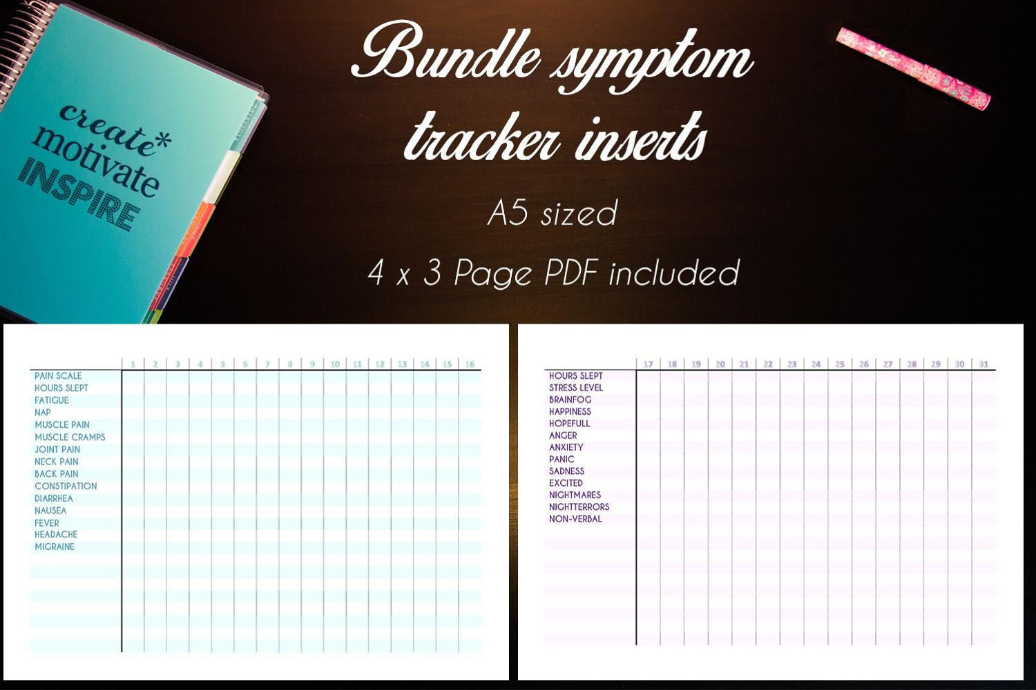 A5 Mental Health And Physical Symptom Tracker Inserts Spoonie