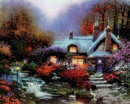 Free Thomas Kinkade Desktop Downloads | By Thomas Kinkade - thomas kinkade, art, cottage, flower, tree .