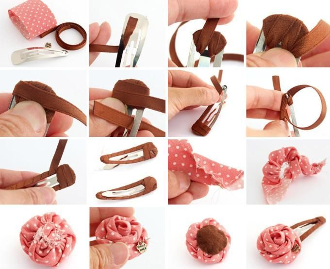 Quick ribbon-wrapped barrette with twisted fabric flower.