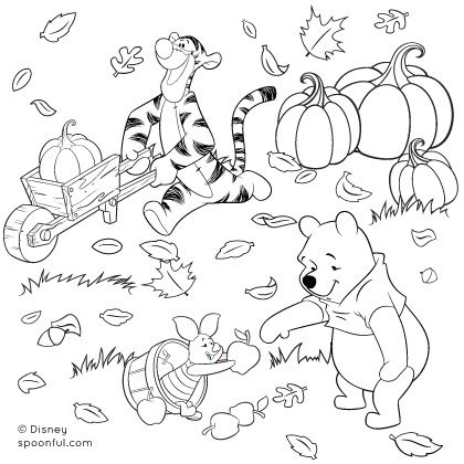 Winnie the Pooh and Friends Fall Coloring Page Halloween coloring