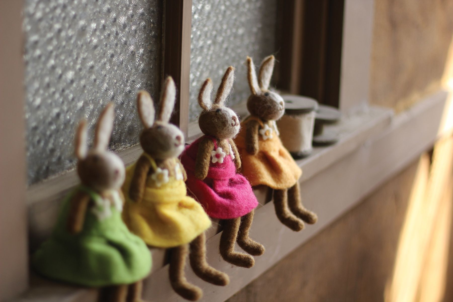 Kalalou Decorative Set of 4 Felt Rabbits-One Each Color