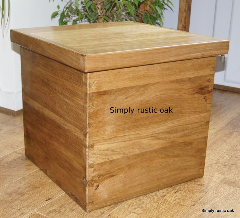 Rustic Oak Living Room Storage Box Blanket Bo