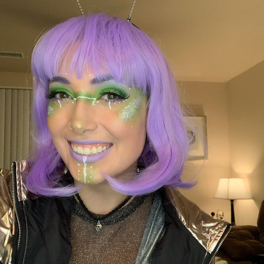 My alien makeup from last night ... #alienmakeup