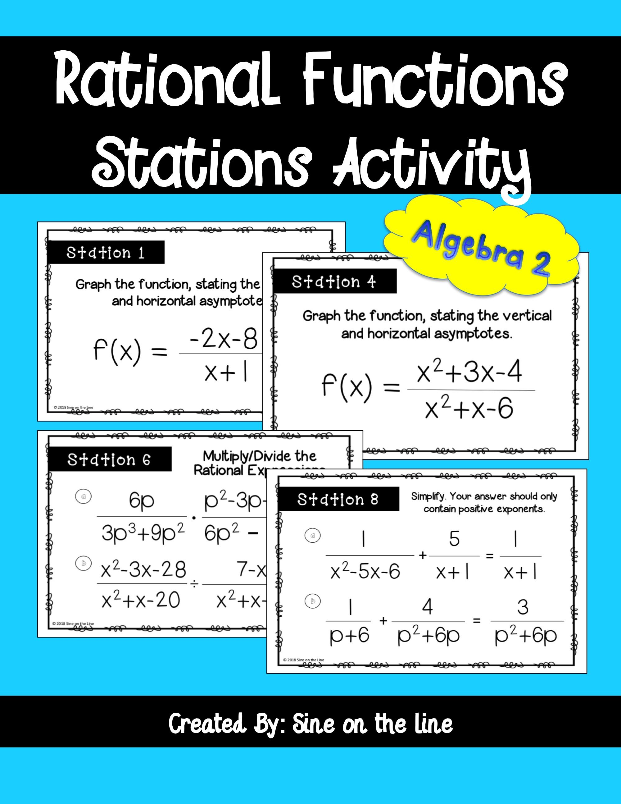 Rational Functions Stations Activity Graphing Rational Functions