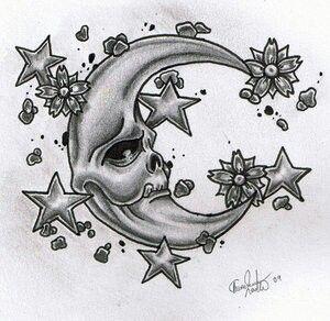 Crescent Moon And Stars Skull Tattoo Design Moon Tattoo Half Moon Tattoo