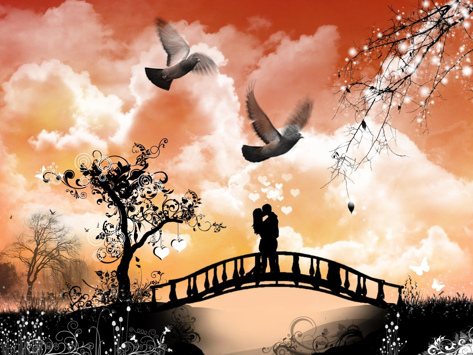 Love Couple D And Cg Abstract Background Wallpapers On Hd