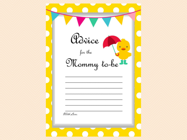 Advice for mommy, Duck Theme Baby Shower Game Pack, Neutral, duck theme, Whimsical Duck Baby Shower Games Printables, yellow polka dots TLC30